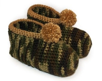 Camouflage Crocheted Slippers (Camo) - Green, Brown, Crochet, Hunter, Army, Military, Women's, Mens, Adults Mens