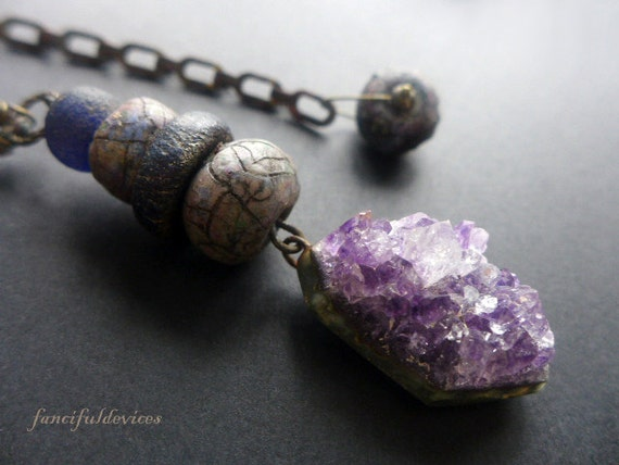 Abodement. Rustic assemblage purple amethyst pendant necklace.