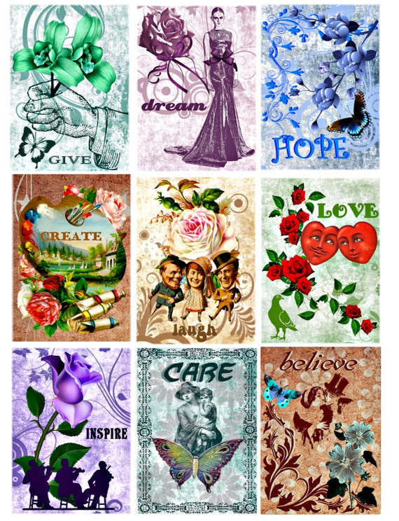 words of encouragement printable art clip art digital download collage sheet graphics images text words quotes flowers hearts vintage paper