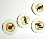 Vintage Shank Buttons - White and Gold Buttons - 4 Matching Buttons - Vintage Clothing Buttons - Craft Supply - Fancy Buttons
