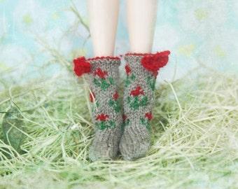 jiajiadoll- Hand Knit- camel flower bowknots socks fits momoko- blythe -Misaki- Unoa light- Lati yellow