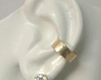 Ear Cuff, Solid Gold Ear cuff, Non-pierced Cartilage Earcuff, Earring Fake Conch,No Piercing Cuff, Faux Pierced Hoop HAMMERED E414KHM