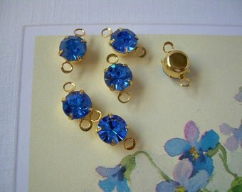 6 Vintage Swarovski 2-Loop Connectors Drops Sapphire Blue Gold Plated Prong Set Charms