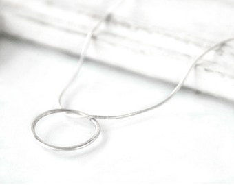 Sliver hoop necklace - 18 inch -  minimalist jewelry - everyday jewelry - gift for mom - mother's day jewelry