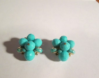 Vintage--Turquoise Beaded--Earrings--Clip Style--Western Germany