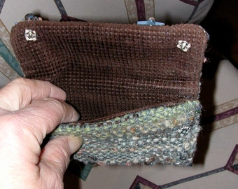 Designed Woven Wallet Pouch Clutch in Neutrals with Shell Clay and Glass Decorations Snap Closures Courderoy Lining