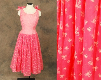 vintage 50s Party Dress - Sheer Pink Ball Gown - 1950s Novelty Bow Print Formal Dress Sz S