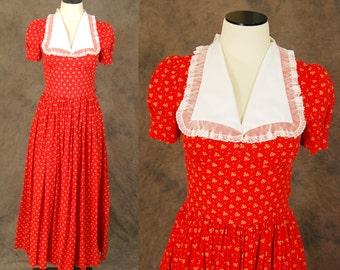 vintage 70s Maxi Dress - 1970s Red Folk Floral Dress Sz S