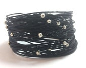 Wikkitz Bracelet in Black with silver beads