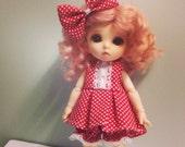 Red Dot Dot Dress Set for Lati Yellow or Pukifee