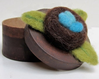 Needle Felted Rustic Bird's NEST with Blue EGGS on Round Rustic Paper Mache Box - Original Art GIFT