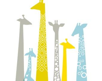 "12X12"" modern giraffe silhouettes giclee print on fine art paper. sky blue, chartreuse, yellow, gray."
