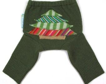 "WOOL LONGIES - Wool Diaper Cover - ""Holiday Cheer"" - X-Small Newborn"