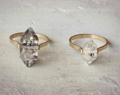 Herkimer Diamond Ring, Gold Fill Ring, Boho Wedding Ring, Clear Crystal Ring