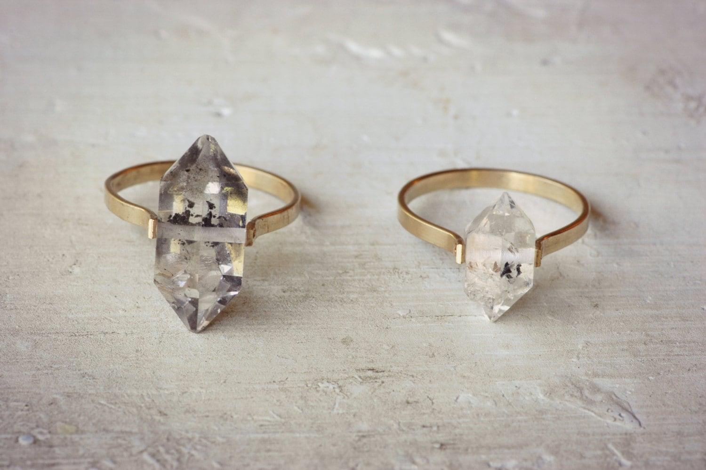 Herkimer Diamond Ring Gold Fill Ring Boho Wedding Ring
