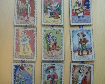 Day of the Dead Loteria Card fabric & felt ornaments magnets - set of 4