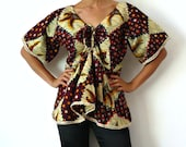 French Vintage African Print  Blouse