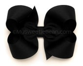 "Black Boutique Bow, 4 inch Hair Bow, Black Bow, Basic Black Bow, BIg Hair Bow, 4"" Grosgrain Bow, Black Hair Bow for Girls, Toddlers, Baby"