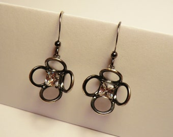 Silver Flower drop earrings - Oxidised sterling silver with square cut cubic zirconia