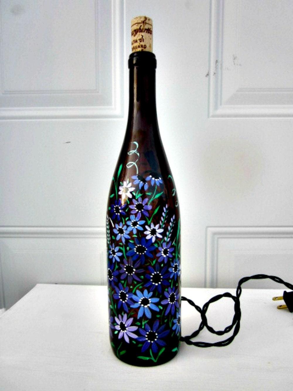 Wine bottle light night light glass light hand painted - Wine bottle light fixtures ...