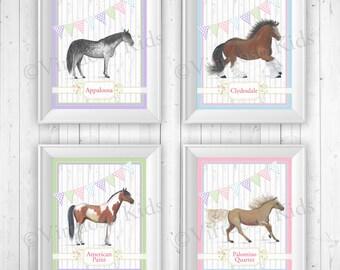 Pastel Horse Art for Girls - Set of 4 Prints 8x10 - for bedroom, nursery, playroom SALE!!