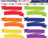 Instant Download Stitched Banners Clipart Rainbow Colors Red Orange Yellow Green Blue Purple Text Banners for Invitations Graphic Designers