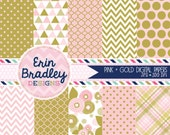 Pink and Gold Digital Papers Instant Download Printable Patterns Personal & Commercial Use Flowers Trianges Polka Dots Chevron and Plaid