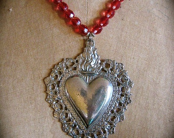 Huge Pewter  Ex Voto SACRED HEART Milagro Czech Glass  Necklace - Perfect gift for the one you love