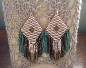 Antique Pink Brown Turquoise Large Handbeaded Fringe Earrings Native Tribal Style