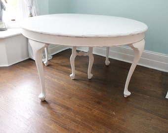 Antique Dining Table White Distressed Shabby Chic round Cottage Prairie kitchen French Country Provincial