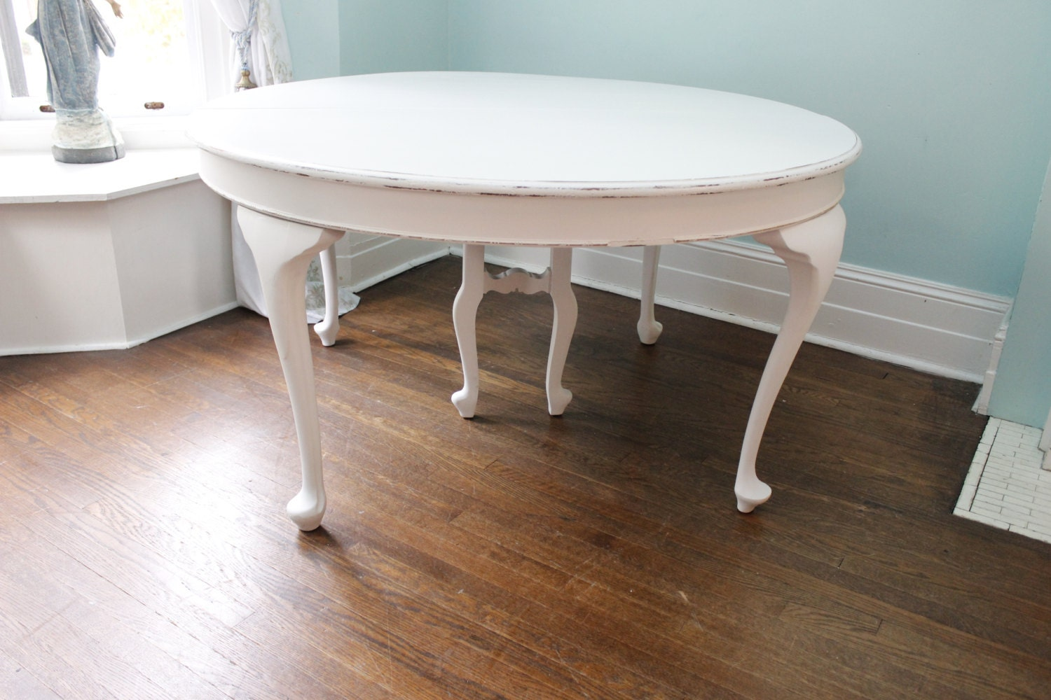 Antique dining table white distressed by vintagechicfurniture for Distressed white dining table
