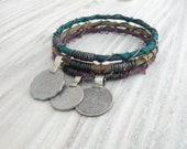 Silk Road 3 Piece Bangle Stack, Silk Wrapped Bangles, Stacking Bracelets, Tribal Gypsy Jewelry,Teal, Olive, Eggplant