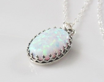 Opal Necklace, October Birthstone Necklace, Opal Pendant, White Opal, Sterling Silver Opal Jewelry