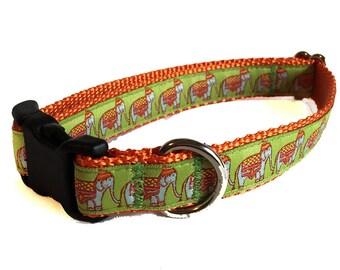 "Elephant Caravan - Buckle or Martingale 3/4"" Dog Collar"