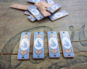 Vintage Enameled Copper Stamping Two Hole Dangle (4)