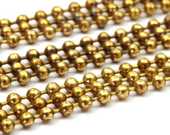 Big Ball Chain, 3M Raw Brass Soldered Strand Ball Chain (2.3x7mm)  ( Z102 )