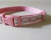 "5/8"" Pink Girl Dog Collar - Pink Embroidered Flowers on Cotton Webbing, Wedding, Girlie, Summer"