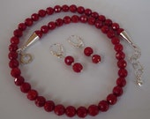 Red Coral faceted necklace earrings set silver accents