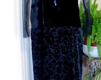 ON SALE/Flocked Velvet Evening Gown