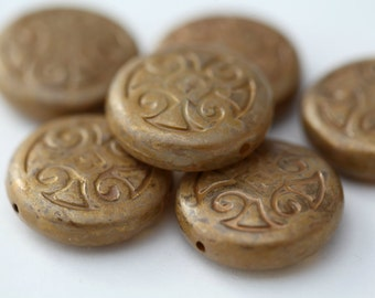 Vintage Gold Mustard Flat Round Etched Disc Lucite Beads 24mm (6)