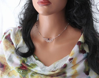 Garnet butterfly necklace sterling silver January birthstone boho chic indie festival wedding bridal Easter gift - Butterfly Kisses