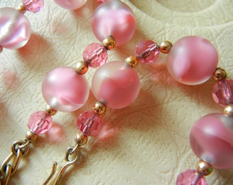Napier Pink Swirl and Faceted Glass Necklace Beads Gold Tone Spacer Beads Vintage