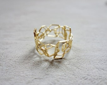 On Sale 20% Off Composition Ring, Geometric ring, Signature ring, Architectural jewelry, Statement ring