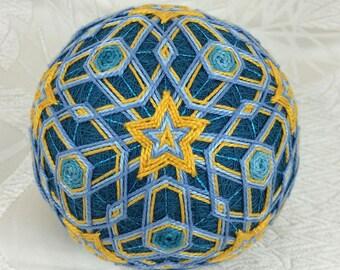 Marigolds on Blue fiber art temari for sale by Barbara B. Suess