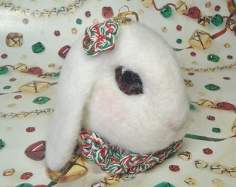 Needle-Felted Rabbit Ornament