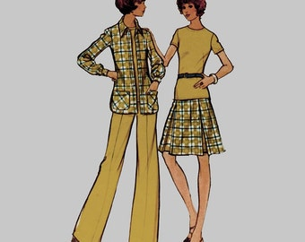 1973 Shirt Jacket Top Skirt and Pants Pattern McCalls 3489 A line skirt Straight leg pants Size 14 Bust 36