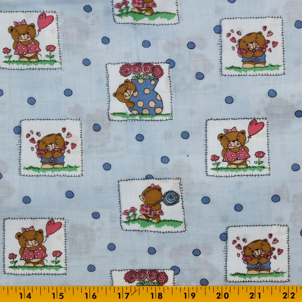 Sweet light blue quilt cotton fabric boy and girl bears in for Quilt material for boys