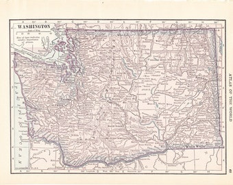 1913 State Map Washington - Vintage Antique Map Great for Framing 100 Years Old