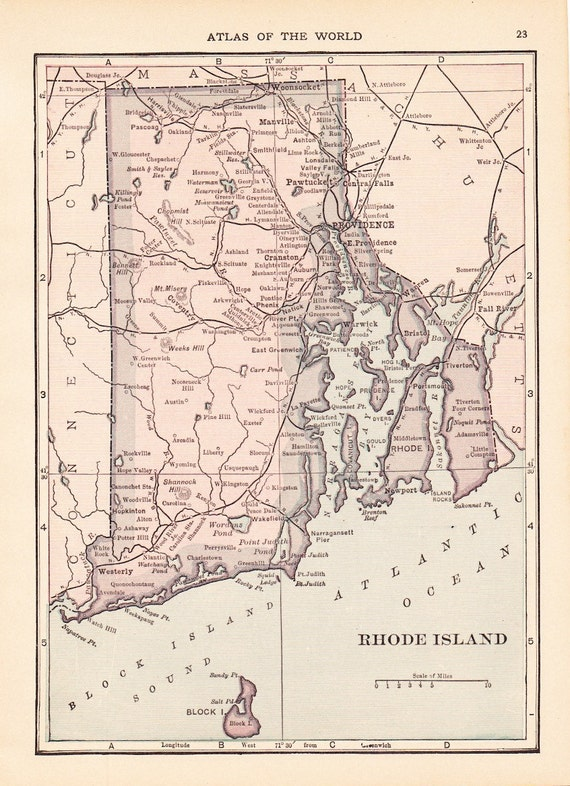 1913 State Map Rhode Island Vintage Antique Map Great For