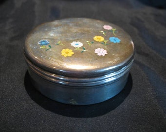 Vintage Sterling Silver Trinket Box With Enameled Flowers